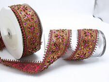 "Beaded Indian Floral Saree Sari Border 2 1/2"" 63.5mm Handmade Priced Per Yard"