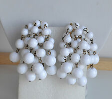 Vintage 70's  White Plastic STATEMENT Waterfall Balls CHA-CHA CLIP ON EARRINGS