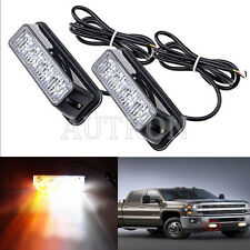 2pcs 4 LED 4W Work Vehicle Grill Strobe Emergency Warning Side light Amber White