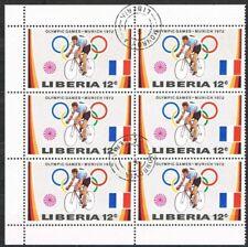 Thematics. Sports. Munich Olympics 1972. Cycling. Liberia. Block of 6.