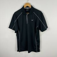 Nike Mens Golf Polo Shirt Medium Black Short Sleeve Collared