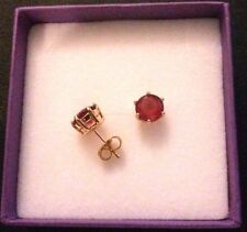 6-pin red rubies gold filled 7mm round stud earrings FREE GIFT BOX Plum UK