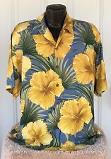 Tommy Bahama Men's M Bright Blue Yellow Hawaiian Floral Silk Shirt