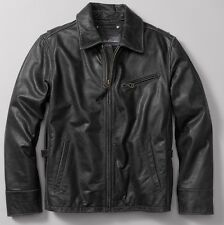 EDDIE BAUER MEN'S SOFT LEATHER journeyman BOMBER JACKET ZIP COAT BLACK TXL $400
