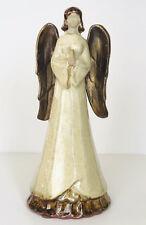 "CHRISTMAS Pier 1 Imports Ceramic Angel Figurine Beige Brown 10.5"""