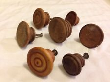 Mixed Lot 7 Antique Round Turned Domed Concave Wood Knobs Drawer Pulls 3.5 4 5cm
