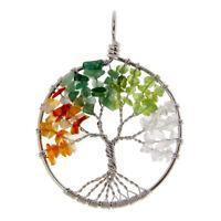 Amethyst Peridot Rose Rock Quartz Stone Wire Wrap Gemstone Tree of Life Pendant