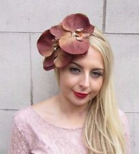 Large Brown Orchid Flower Fascinator Headpiece Headband Races Rockabilly 3978