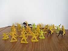 Vintage 27 Cowboys and Indians Toy Plastic Figures 2 inch Yellow Color