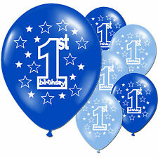 "10 Blue Boy's 1st Birthday Party 11"" Pearlised Latex Printed Balloons"