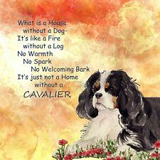 CAVALIER KING CHARLES SPANIEL DOG tri HARDBOARD PLAQUE TILE SANDRA COEN ARTIST