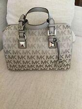 MICHAEL Michael Kors Signature MK Jacquard GRAYSON Medium Satchel Handbag Bag