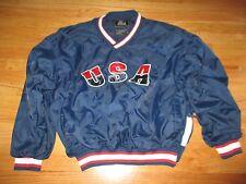 Vintage Starter Label USA Basketball Nylon (XL) V-Neck Jacket OLYMPICS