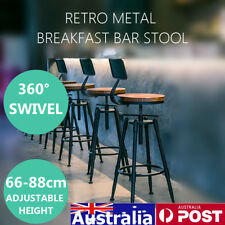 Vintage Retro Wood Industrial Bar Stool Home Kitchen Cafe Wooden Swivel Steel AU