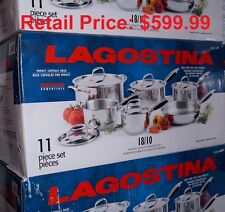 Lagostina 18/10 Stainless Steel 11 Piece Cookware Set NIB Retail Price: $599.99