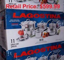 Lagostina 18/10 Stainless Steel 11 Piece Cookware Set NIB Retail Price: $599.99