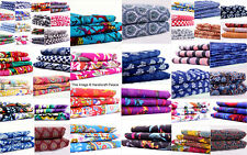 By The Yard Indian Pure Cotton Quilting Hand Printed Dress Making Fabric Cloth