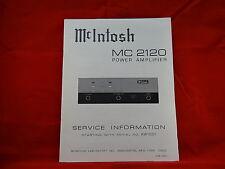 McIntosh MC 2120 Amplifier Service Manual