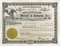 Metcalf & Richards, Inc. > 1933 old stock certificate share