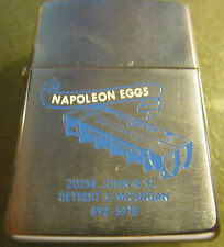 Vintage RARE 1968 Zippo Lighter Napoleon Eggs Company Advertising EXCELLENT