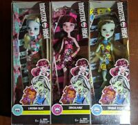 (3) Monster High Dolls NRFB Frankie Stein Lagoona Blue & Draculaura MATTEL 2016
