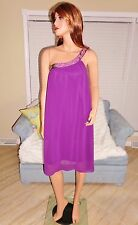 Womens beaded violet chiffon one shoulder cocktail dress by Ever Pretty sz 14
