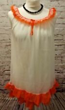 VINTAGE WHITE ORANGE NYLON DOUBLE LAYER NIGHTDRESS NIGHTIE BABYDOLL SEXY SASSY