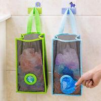 Reusable Hanging Mesh Organizer Garbage Bag Holder Folding Kitchen Storage Bags