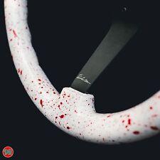 """VIILANTE 3"""" DEEP 6-HOLES STEERING WHEEL *RED BLOOD SPLATTER* BLACK SPOKE - HONDA"""