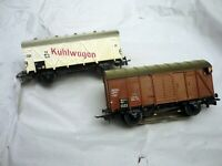 "MARKLIN H0 306,307 Vintage, "" 2 Freight Cars"" of DB, Metal, 1 with tail light"