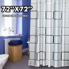 72x72in Waterproof Shower Curtain Bathroom Curtains Drapes With 12 Hooks   D