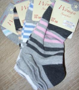4 Paar Kindersocken / Sneaker Gr.: 35 - 38 mehrfarbig gestreift / NEU,  X / 208