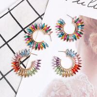 Rhinestone Colorful Women Hoop Earrings Fashion Accessories Jewelry Ear Studs