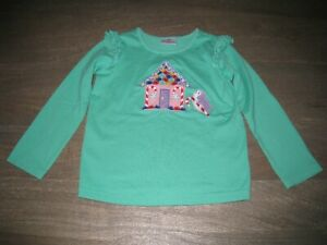 EUC Hanna Andersson Christmas Themed Top. Green. Gingerbread House. 110 (5-6)