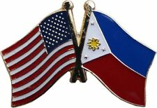 USA - PHILIPPINES FRIENDSHIP CROSSED FLAGS LAPEL PIN - NEW - COUNTRY PIN