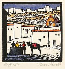 SPANIEN - SAGUNT - ALTSTADT - Hans Kirst - kolorierter Holzschnitt 1940