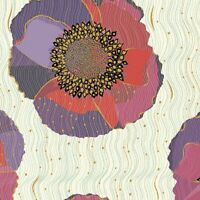 Bellisima Large Floral Poppies Beige Quilting 100% Cotton fabric by the yard