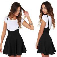 Fashion Sexy Women Fashion Black Skirt With Shoulder Straps Pleated Mini Dress