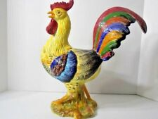 Horchow Ceramic/Porcelain Chicken Colorful Rooster Made in Italy 16 inches high