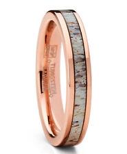 Rose Gold Tone Tungsten Wedding Band Engagement Ring Deer Antler 4mm