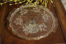 Vintage Crystal Cake Plate on Pedestal Floral Pattern