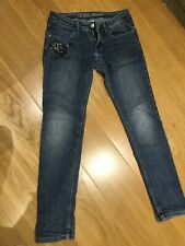 Girls Guess Jeans Age 10 Blue With Flowers Embroidery