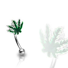 Ring with Green Pot Leaf 16G 316L Surgical Steel Curved Eyebrow