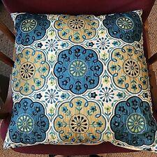 """Pier 1 Decorative Pillow Multi color Embroidery Asian Appliqued Flowers 17"""" EUC"""