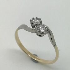 0.40ct Diamond Due Pietra Twist Ring - 9ct GOLD & PLATINUM-Taglia P - 1.59g