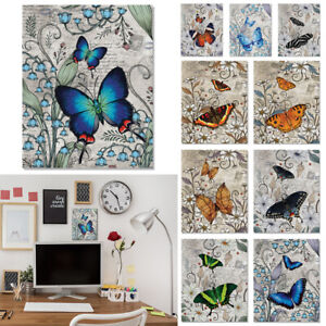 Vintage Butterfly Collection Artwork Canvas Board Pictures Poster For Home Wall