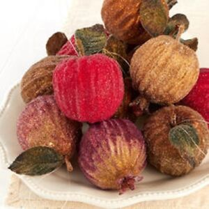 SET OF 6 GLITTERED APPLES/PEARS/POMEGRANATES ORNAMENTS FIGURINE Fruit New Deluxe