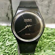 Vintage Retro Swatch 4433 Black & Gold Trim Swiss Made Wristwatch Watch 90s