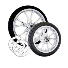 "Coastal Moto Chrome Largo 3D 21"" Front 18"" Rear Wheel Set Rotors Harley 09-18"