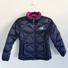 Girls The North Face 550 Down Quilted Jacket Size Medium Black Pink